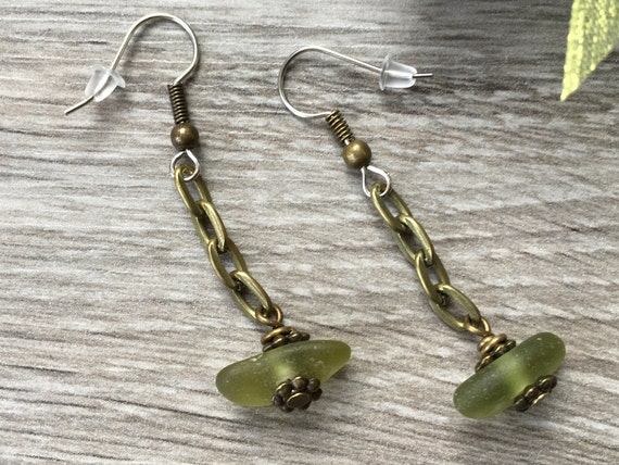 Sea glass earrings, natural green beach glass, boho, hippie, unusual unique gift, mermaid, simple rustic earrings