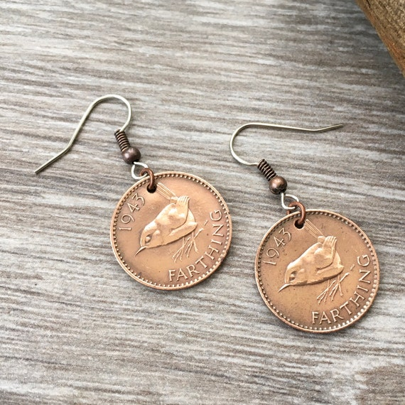 75th or 76th birthday gift, 1943 or 1944  wren Farthing earrings, British pretty bird coin jewellery, English present for her, woman, mum