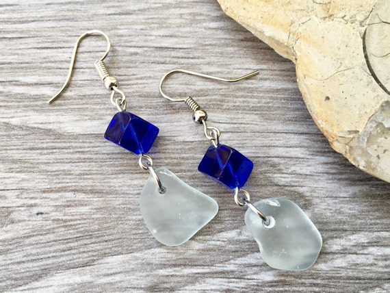 Sea glass earrings, Cornish beach glass jewelry, Cornwall mermaids tears, blue earrings