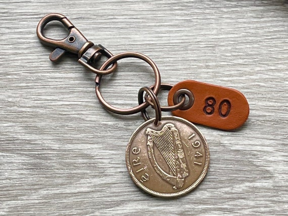 1941 Irish penny with a number 80 tag choose between a keyring or clip, a thoughtful 80th birthday gift for man  or woman