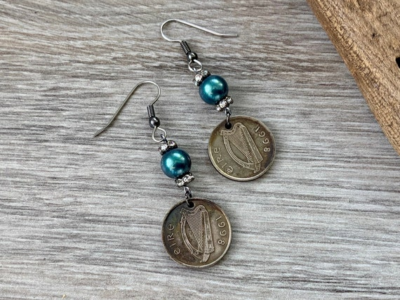 Irish coin earrings, 21st birthday, Eire Anniversary gift, 1998 repurposed coin Ireland, antique style keepsake present for her, woman,