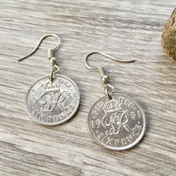 British sixpence earrings, choose between a 1950 or 1951 coin, a perfect 68th or 69th birthday, stainless steel or Sterling silver ear wires