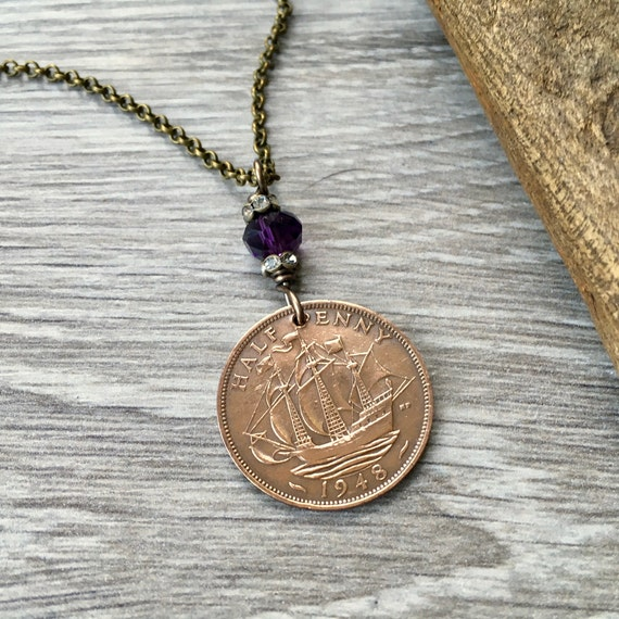 British half penny necklace, choose coin year, 70th or 71st birthday gift, 1947, 1948 or 1949 pretty coin necklace, present for her, woman