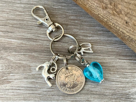 1949 Lucky sixpence charm, keychain, keyring or bag clip, 70th birthday gift woman
