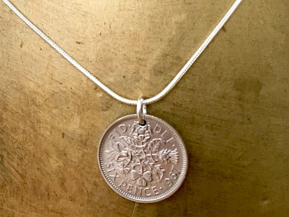 1966 or 1967 Lucky sixpence pendant necklace Anniversary, 54th or 55th birthday gift, good luck present for woman sterling silver chain