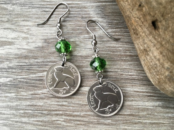 66th or 69th birthday gift, 1950 or 1953 Irish hare coin earrings, rabbit jewellery, Ireland  harp, anniversary retirement present woman