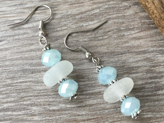 Mermaid earrings, sea glass, beach glass jewelry, pale blue cut glass bead, bridesmaid jewelry, gift for her, woman