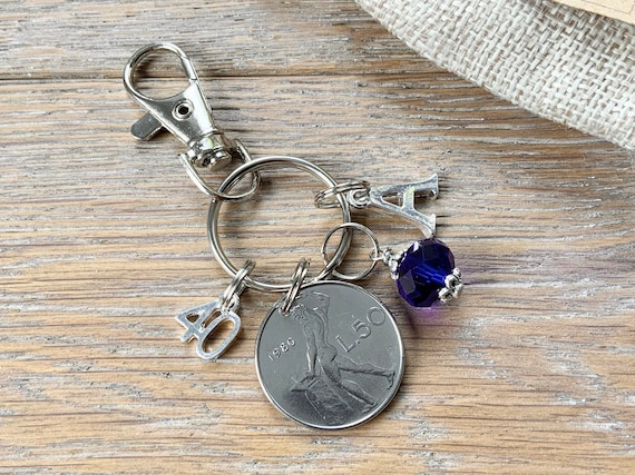 40th Italian Birthday gift, 1980 50 Lire coin keyring or bag clip, choice of initial and birthstone colour, 40th birthday gift woman