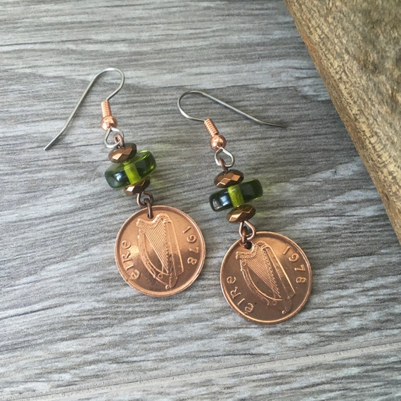 Irish gift for a woman, 1971, 1975, 1978, 1980 or 1982 Ireland half penny earrings, 48th, 44th, 41st, 39th or 37th  birthday or anniversary,