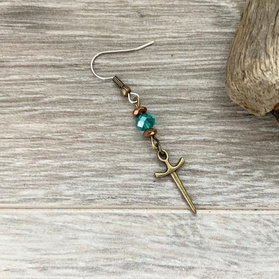 Long dagger dangle earring, one single earring or a pair of earrings, bohemian style jewellery for man or woman, rocker, biker