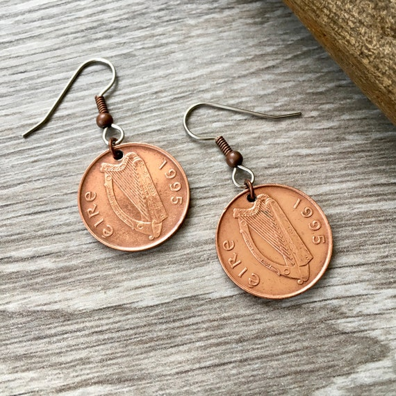 23rd, 24th or 25th birthday gift, 1994, 1995 or 1996 Irish coin earrings, Ireland lucky irish penny jewellery, anniversary gift for her
