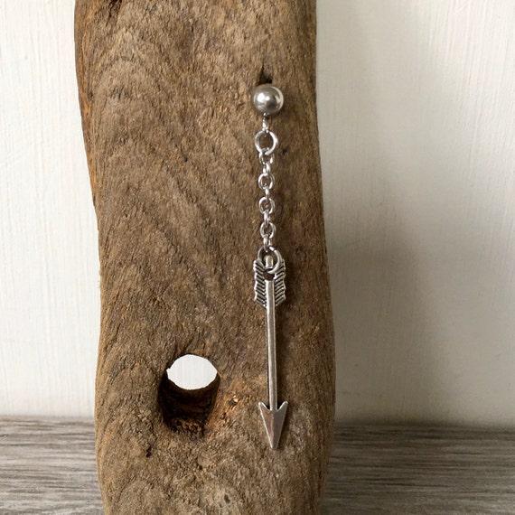 Long arrow earring, single earring or a pair of earrings for men or women, stud post dangle earring