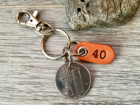 Italian coin keyring, 40th, birthday gift, 1979 Italy keychain, 100 Lire key fob, anniversary  present