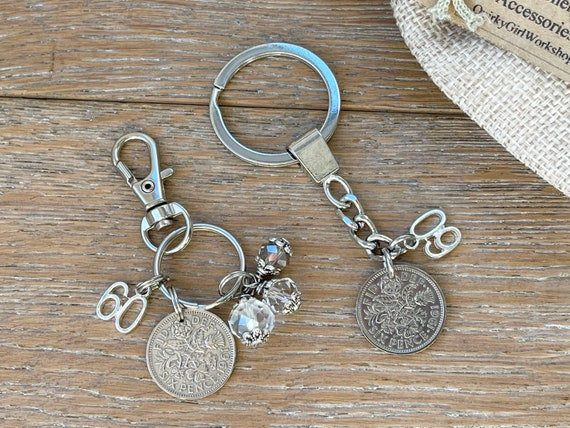 60th Anniversary, Diamond wedding anniversary couples gift, 1961 Lucky sixpence keyring and a 1961 sixpence charm clip, 60th birthday gift