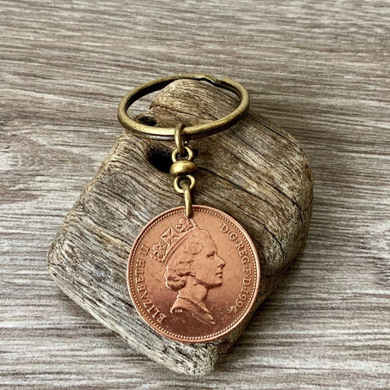 1992, 1993 or 1994 British coin keychain or clip English keyring, 26th, 27th or 28th  birthday, UK anniversary gift for a man or woman
