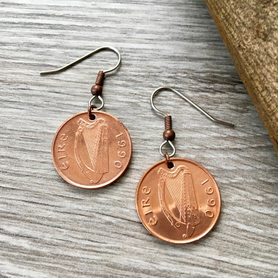 Irish coin earrings, 27th or 29th birthday gift for her, 1990 or 1992 Ireland penny, anniversary, Jewellery present woman, stsinless steel