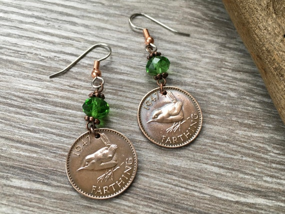70th, 75th or 80th birthday gift, wren Farthing earrings, 1939, 1944 or 1949 British pretty coin jewelry, bird, stainless steel ear hooks