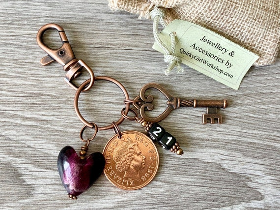 21st birthday, anniversary gift, 1998 British coin keyring or clip, present for a woman, key to the door