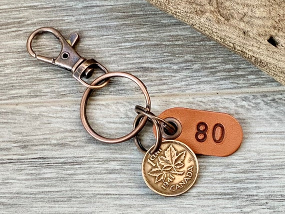 80th birthday gift, 1941 Canadian coin keychain, Canada one cent keyring, lucky maple leaf penny clip