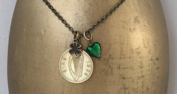 33rd birthday gift, 1986 Irish coin necklace, green glass heart, lucky irish talisman, Ireland coin pendant, shamrock gift for her, woman