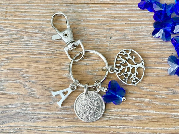 Lucky sixpence, tree of life and butterfly bag clip, choose initial and coin year for a thoughtful birthday or anniversary gift