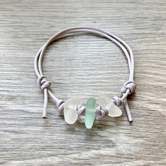 Natural sea glass bracelet, light grey leather bracelet, adjustable knotted cord,