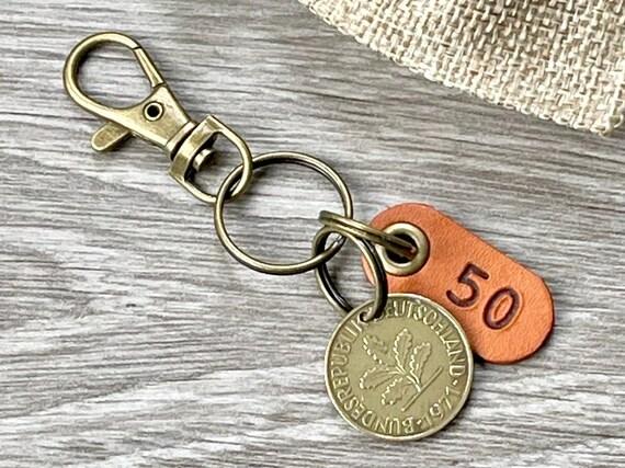 50th birthday gift, 1971 German coin keyring or clip, Germany 10 pfennig keychain