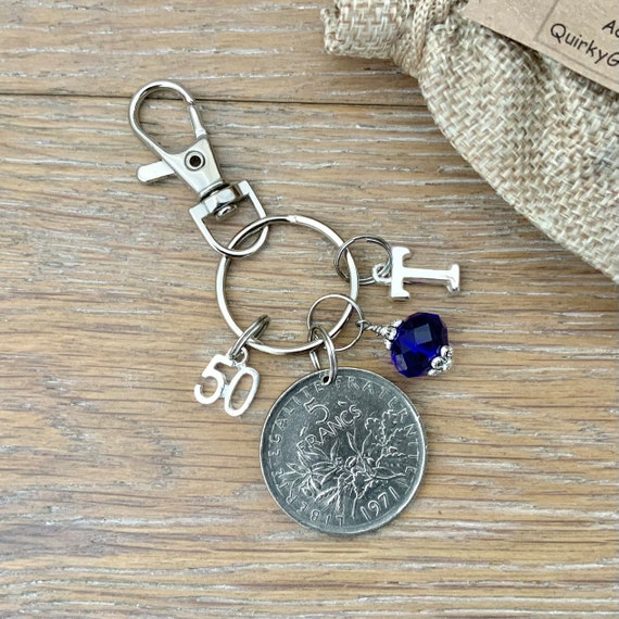 50th birthday gift, 1971 French 5 Franc coin bag charm clip, birthstone and initial, France anniversary present for woman