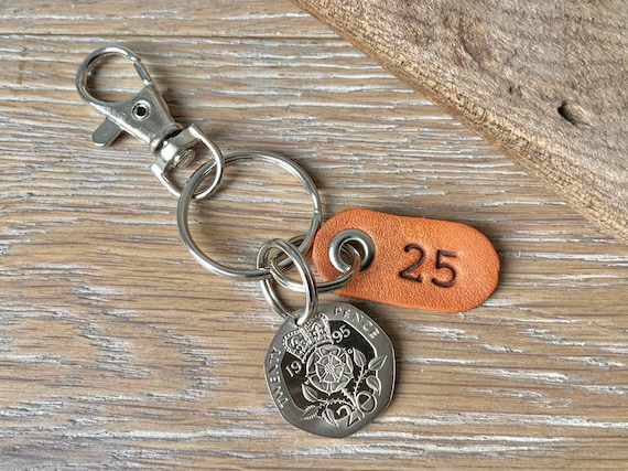 25th birthday gift, 1995 UK coin keyring, keychain, clip or bag charm, with a leather number 25 tag