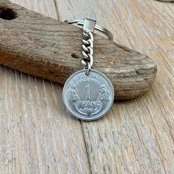 80th birthday gift, 1941 French coin key ring, key chain, 1 franc France, present for a man or woman