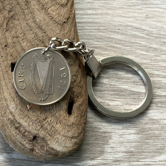 1971 Irish five pence coin keychain, 50th birthday or anniversary gift