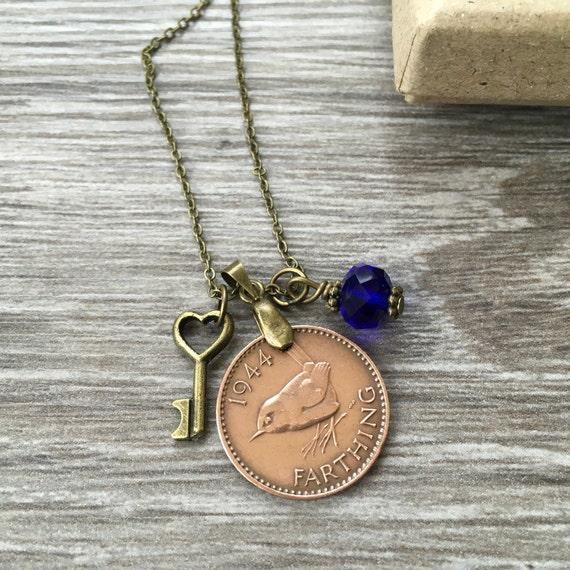 Farthing necklace, 74th or 75th birthday gift, 1944 or 1945 British bird coin pendant, jenny wren, present woman, mum, grandma, grandmother