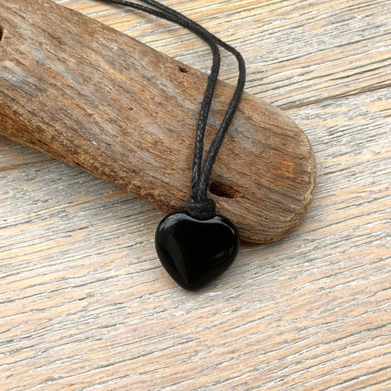 Black agate heart necklace on an adjustable waxed cotton cord