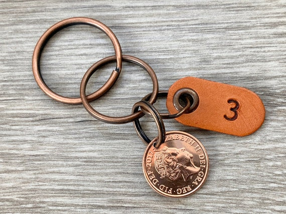 3rd anniversary gift, 2017 UK penny keyring, three year leather anniversary, British coin keychain or clip, 3rd anniversary
