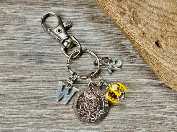 18th birthday gift, 2001 British 20 pence coin bag charm clip, birthstone and initial present, UK anniversary,  for woman