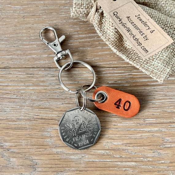 1981 French two franc coin key ring or clip 40th birthday or anniversary gift