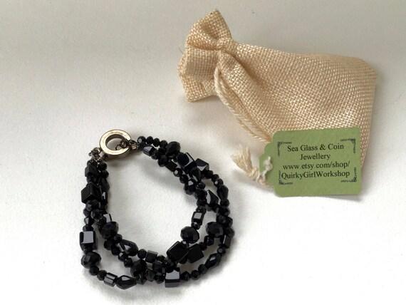 Black bracelet, multi strand bracelet, gothic jewelry, black cut glass beaded bracelet chic bracelet, ideal for that special evening out