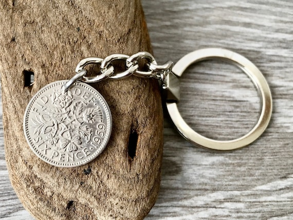 Lucky sixpence keyring, Keychain, choose coin year for a perfect 60th birthday, anniversary, good luck or retirement gift