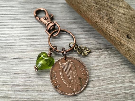 Irish penny keychain, harp clip keyring, 1968 ireland coin lucky bag charm St Patricks day 52nd birthday anniversary, mum, aunt, sister