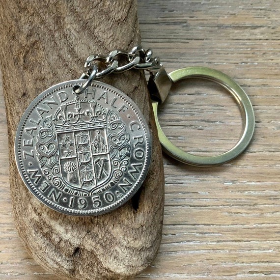 1950 New Zealand coin keyring, keychain, New Zealand half crown key fob, 71st birthday gift for a man or woman