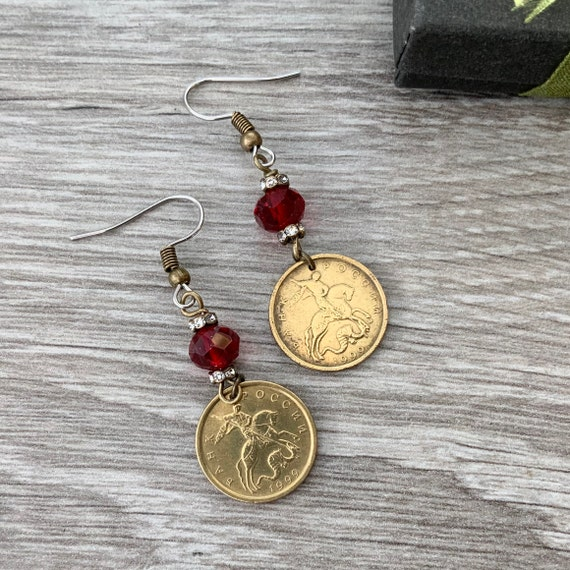 Russian coin earrings, handmade with 1999 10 kopeck coins and red beads, horse coin earrings