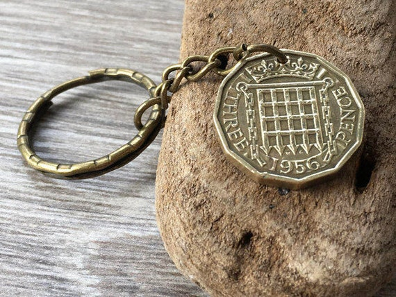 62nd or 63rd birthday gift, 1956 or 1957 British coin keychain 3d Threppence brass three penny piece keyring, present for a man, woman
