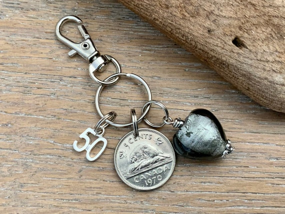 1970 Canadian coin clip, canada 5c keyring, beaver nickel charm, 50th birthday or anniversary present for a woman