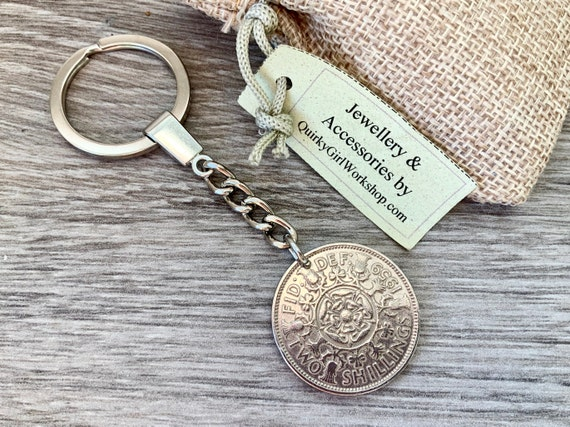Two shilling keyring or clip, 1957, 1958 or 1959 UK coin keychain, 60th 61st or 62nd birthday gift, British florin, retirement, anniversary