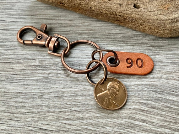 90th birthday gift, 1930 USA coin keychain, American one cent keyring, lucky penny clip for a man, woman, mum, grandma grandad, dad