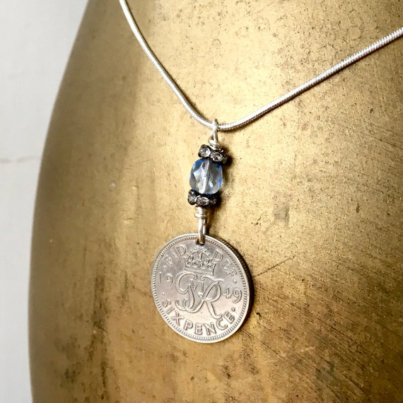 Sixpence necklace, lucky coin pendant, 1948, 1949 or 1950 choose coin year 70th birthday gift,