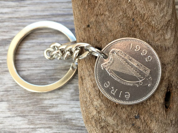 20th birthday gift, 1999 Ireland keychain, Irish coin keyring, good luck, lucky charm, anniversary present for him, man, son, nephew, friend