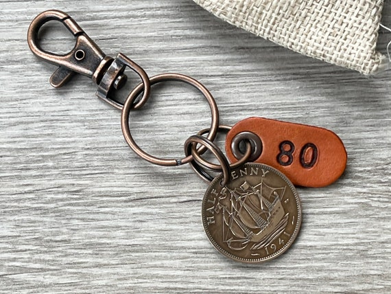 80th birthday gift, 1941 British half penny keychain, keyring or clip, English gift for a woman or a man