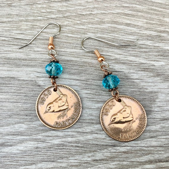 British Wren Farthing earrings, choose coin year and stone colour for a perfect birthday gift, stainless steel ear hooks