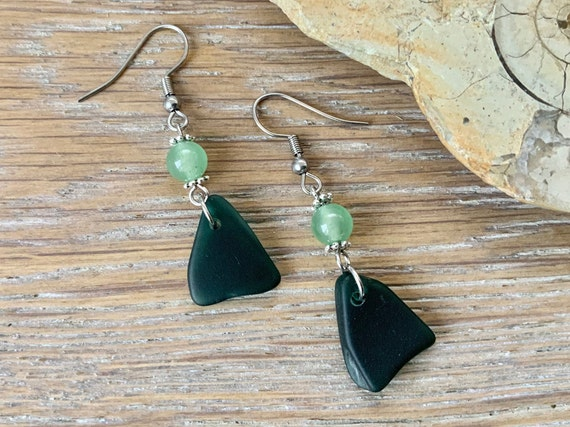 sea glass dangle earrings, long jade earrings, very dark green sea glass, English beach glass jewellery, gift for a woman wife or girlfriend